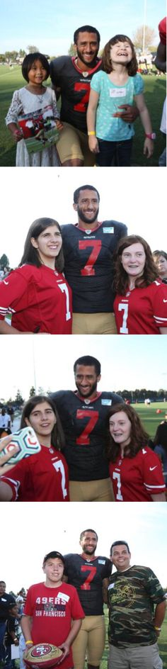 Colin Kaepernick 8/19/15 with camp Taylor at 49ers training camp I pray the best for him. 49ers management doesn't know what they've lost.