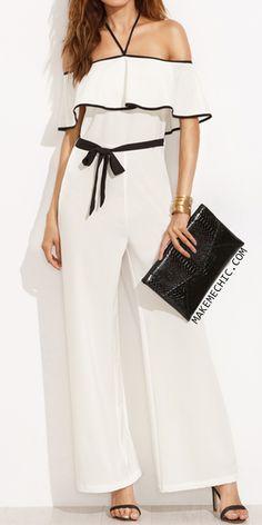Black and White Halter Ruffle Tie Waist Jumpsuit
