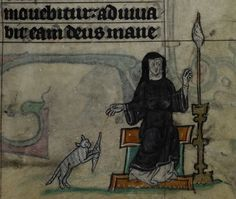 Detail of a miniature of a nun spinning thread, as her pet cat plays with the spindle; from the Maastricht Hours, the Netherlands (Liège), 1st quarter of the 14th century, Stowe MS 17, f. 34r; for more on the Maastricht Hours, see our recent post on the manuscript.