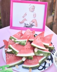 Watermelon popsicles. A Flamingesta: a flamingle and a fiesta in one! Taco bout a party. Baby girl first birthday party. Flamingo birthday party. Hello Baby Brown.