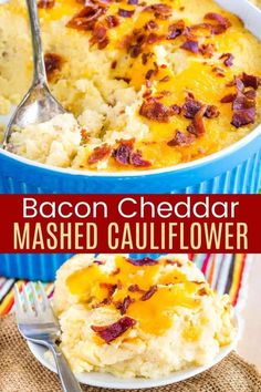 Cheddar Bacon Mashed Cauliflower - skip the carbs, keep all of the light, fluffy deliciousness of mashed potatoes with this easy side dish recipe. This cheesy casserole will have everyone asking how to make it, and you can share this it only has 5 ingredients and takes just minutes of prep time. Great for weeknights, or even Thanksgiving or Christmas!