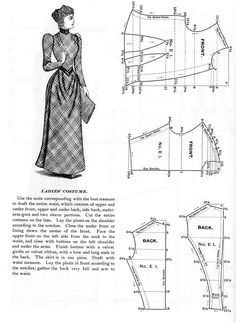 Pattern for an 1890 Woman's Dress  with a One Piece Skirt  from 50 Authentic Turn-of-the-Century Fashion Patterns (by Kristina Harris)