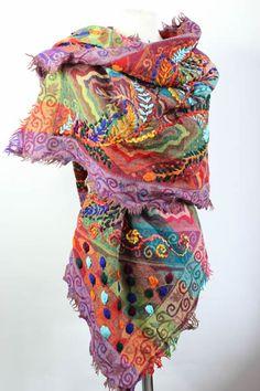 Gudrun Sjoden Hermosa Bufanda larga de algodón