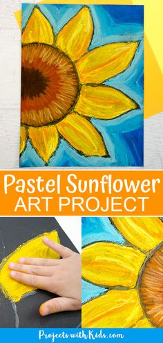 Chalk Pastel Sunflowers: so colorful and beautiful! Kids will learn easy chalk pastel techniques to create this fun sunflower art project! Sunflower Crafts, Sunflower Art, Sunflower Painting Van Gogh, Chalk Pastel Art, Chalk Pastels, Chalk Art, Projects For Kids, Art Projects, Famous Artists Paintings