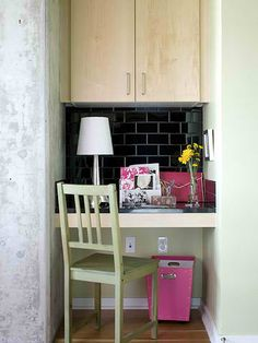 Small space- if I ever do work again on the house in FL... this is what I had wanted to do with the nook