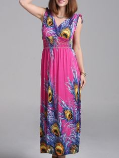 Appealing V Neck Blended Printed Maxi-dress Maxi Dresses from fashionmia.com