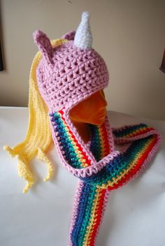 Adventure Time LADY RAINICORN crochet hat LONG. $48.00, via Etsy.