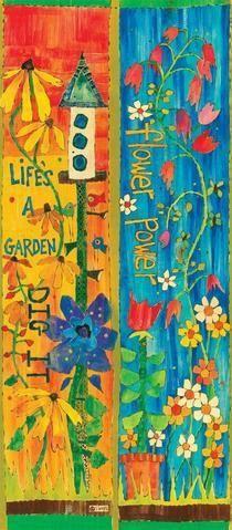 Flower Power Art Pole 3 Foot – Painted Peace - the Art of Stephanie Burgess Flower Power, Garden Projects, Art Projects, Yard Art Crafts, Garden Crafts, Round Robin, Peace Pole, Woodstock, Garden Poles