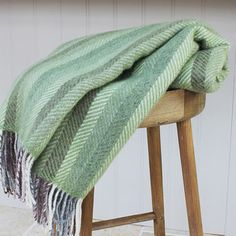 Natural Green Herringbone Wool Throw