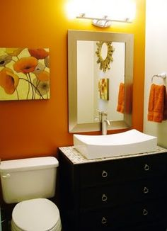 Pretty orange (!) bathroom  Main bath inspiration ideas?