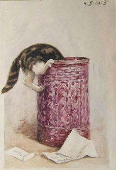 'Cat in a Basket' by Carl Froschl, 1915