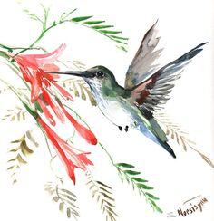 Hummingbird original watercolor painting 12 X 12 by ORIGINALONLY, $38.00