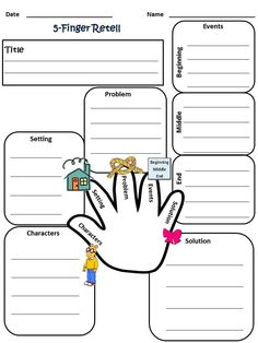 My 5-Finger Retell worksheet, 2nd grade reading .....Follow for Free 'too-neat-not-to-keep' literacy tools  fun teaching stuff :)