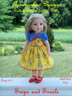 """WELLIE WISHER PRINTED Sewing Pattern: Snips and Snails / Sewing Pattern for 14"""" American Girl  Wellie Wishers"""