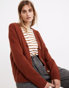 Cameron Ribbed Cardigan Sweater in Coziest Yarn Ribbed Cardigan, Sweater Cardigan, Cardigans For Women, Merino Wool, Madewell, Overalls, Take That, Cozy, Sweaters