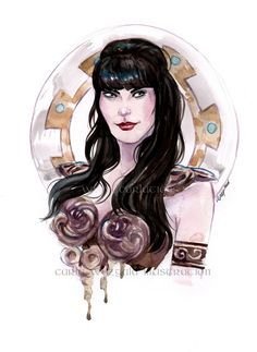 Xena Warrior Princess art watercolor