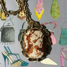 """VINTAGE Needlepoint Cameo Necklace Beautifully handmade needlepoint cameo in shades of brown. Has a mirror attached on the back. 24"""" thick chain. Pendant is 2.25"""" high × 1.75"""" wide. Vintage Jewelry Necklaces"""