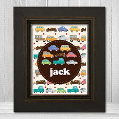 Personalized Boys Room 8x10 Print  - Kids Car Wall Art - Custom Boys Print - Sweet Baby Shower Gift. $20.00, via Etsy.