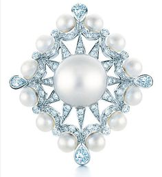 Tiffany ring with cultured South Sea pearls and diamonds in 18 karat white gold.
