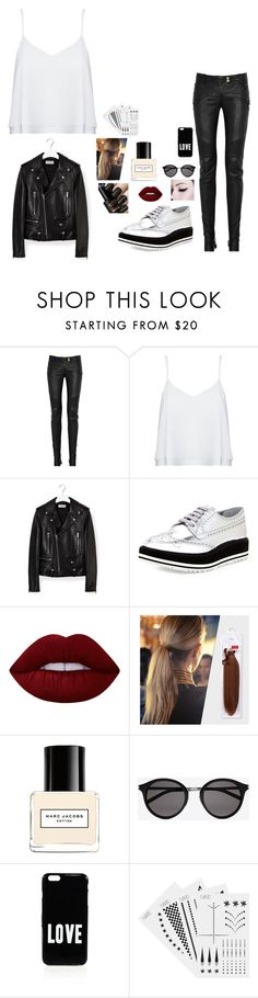 """""""Untitled #250"""" by mariapangal ❤ liked on Polyvore featuring Balmain, Alice + Olivia, Yves Saint Laurent, Prada, Lime Crime, Marc Jacobs, Givenchy and NARS Cosmetics"""