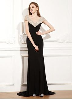 Sheath/Column V-neck Court Train Chiffon Evening Dress With Beading