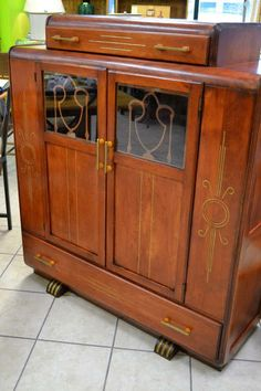 """Handsome Art Deco Cabinet With Top Cutlery Drawer - Refinished and Restored - Great Gatsby-esque! Includes Funky Brass Hardware, 1 Main Cupboard (One Fixed Shelf), and One Bottom Drawer - 41"""" W x 14"""" D x 46"""" H"""
