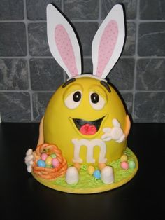 m & m Easter bunny cake