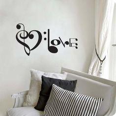 decoracion de cuarto con notas musicales