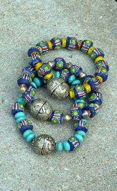 BOHO Beaded Bracelets 3 STACKABLE Tribal Bracelets The Joy Moos Collection $95.00