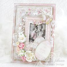 A pink Easter card, the Easter Greetings and Pion Design Palette paper collections. Vintage image from Grandma's Attic