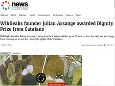 Wikileaks founder Julian Assange awarded Dignity Prize from Catalans
