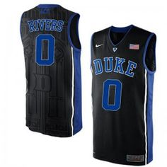 4923f1ab5a38 Men s Nike Duke Blue Devils 0 Austin Rivers Elite Jersey - Black