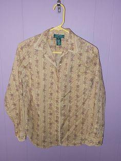 LAUREN Ralph Lauren FLORAL Western WOMEN'S BUTTON Top Shirt PM Petite MEDIUM