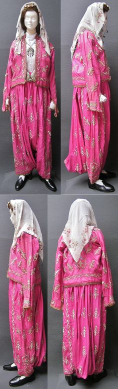 A traditional festive ensemble ('şalvar'/baggy trousers + 'cepken'/long-sleeved vest) from the Bursa region.  Late-Ottoman, urban style, circa 1900-1925.  Adorned with goldwork embroidery (in 'Maraş işi'-technique) on silk.  Trousers and vest were purchased in Bursa in 1988.  (Kavak Costume Collection - Antwerpen/Belgium).