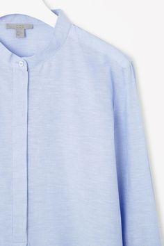 COS image 6 of Cotton and linen shirt in Powder Blue I Love Fashion, Fashion Brand, Womens Fashion, Modern Wardrobe, Staple Pieces, Contemporary Fashion, Poplin, Cos, Lady