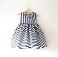 Flower Girl Dress in Deep Grey and White Stripes. $95.00, via Etsy.