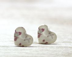 Pink Heart Earrings Studs  White Cream Butterfly Red by CutTheFish, $15.00