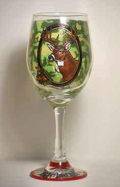 """""""Deer"""" from Eklektik Kreations by Katie http://www.eklektikkreationsbykatie.com/ Deer camo camouflage hunter hunting target buck antlers personalized name eclectic wood intarsia pysanky ukrainian art eggs segmentation marquetry sculpture wall animal sale scroll saw natural grain decor home house products hand made painted glass glasses wine gifts Easter wax dye decorative  glass decoration"""