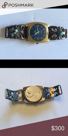 1973 VINTAGE NAVAJO STERLING SILVER WATCH BAND. 1973 VINTAGE NAVAJO TURQUOISE STERLING SILVER WATCH BAND. BISBY STONES. Jewelry Bracelets