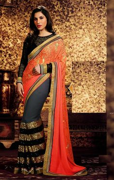 Show details for Fashionable Peach and Gray Color Saree