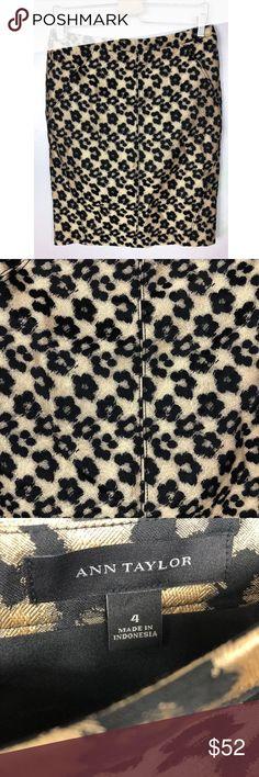 "ANN TAYLOR Metallic Gold Leopard Skirt ANN TAYLOR Metallic Gold Leopard Jacquard Pencil Skirt Size 4 Msrp $120 NWOT  waist across 15.5"" length 22""  excellent pre owned condition Ann Taylor Skirts"