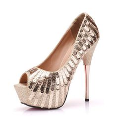 7ce2a69bb Sexy Gold Evening Party Womens Shoes 2018 Sequins 14 cm Stiletto Heels Open    Peep Toe High Heels