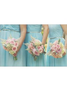 Pretty shades of pink, yellow, and powder blue.  # Tiffany Blue Wedding ... For free wedding ideas, tips and tricks ... ♥  http://www.facebook.com/pages/Planning-a-Wedding-Wedding-Apps/323767291749 ♥ https://twitter.com/bridesiPhoneApp