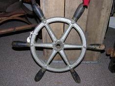 Classic metal & wood boat wheel from the 1930's from Black Bass Antiques in Bolton Landing, New York. Adirondacks