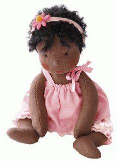 Kathe Kruse Mini Baby It's Me Melana Waldorf Doll - Lovely Brown Skin - Blueberry Forest