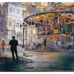 Jopjn Salminen watercolor Karusszel de Paris