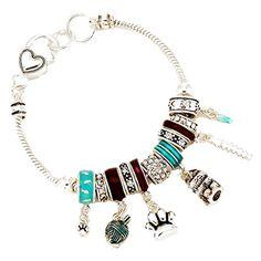 Cat Charm Bracelet BZ Clear Crystal Turquoise Blue Beads Silver Tone Recyclebabe Bracelets http://www.amazon.com/dp/B017MV6NRI/ref=cm_sw_r_pi_dp_QAapwb0TMZZ93