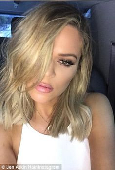 Then and now: Khloe chopped of her long blonde waves, left, in favor of a trendy long bob...