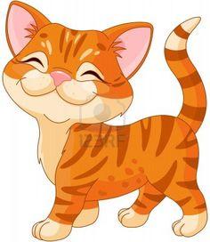 Cute striped kitten walking proud Stock Photo