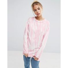 ASOS T-Shirt with Bleach Print With Long Sleeves ($20) ❤ liked on Polyvore featuring tops, t-shirts, pink, crew neck t shirt, print t shirts, jersey t shirt, pink long sleeve t shirt and oversized pink t shirt